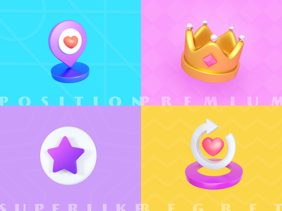 Some 3D icon for social app premium star king heart map location design icon ui