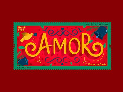 Selo Amor | Correios stamp lettering