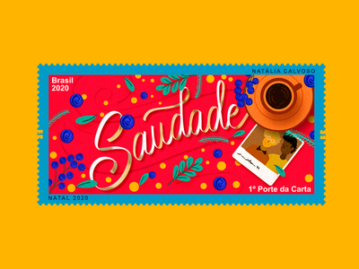 Selo Saudade lettering art stamp lettering