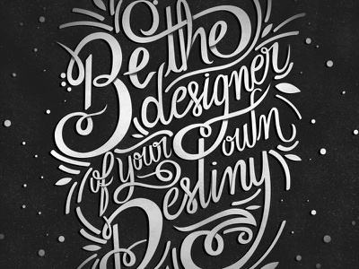 Oscar De La Renta flourishing black and white quotes lettering