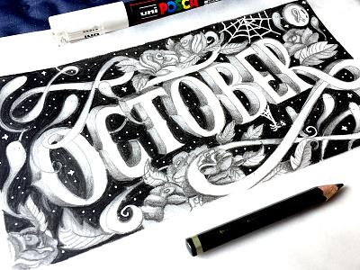 Lettering graphite halloween calendar october lettering
