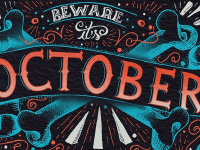 October II illustration sketch month october lettering