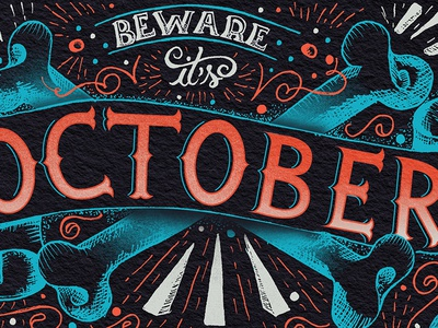 October II illustration sketch month october lettering