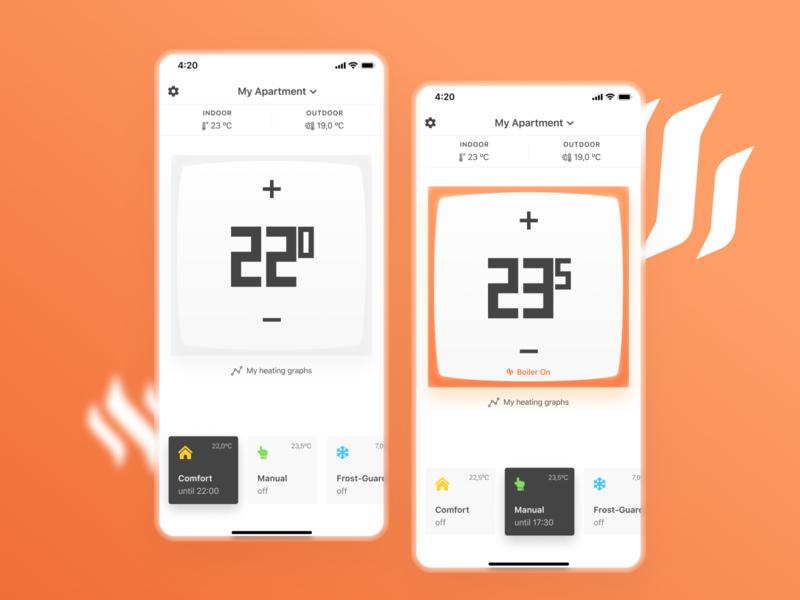 Netatmo App redesign smart smart home redesign thermostat netatmo orange white mobile app design ui ux