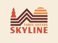 Three Sisters Skyline trail running trailrace logo branding sun running run oregon tree trail