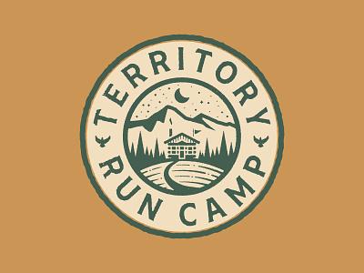 Territory Run Camp camp stars moon woods cabin illustration running patch texture tree trail run badge