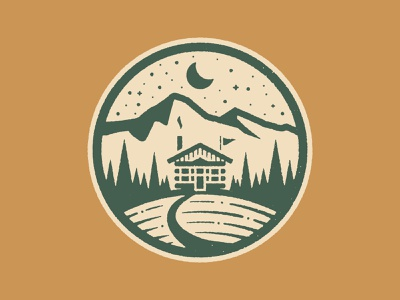 Territory Run Camp camp stars moon woods cabin illustration running patch texture tree trail run badge