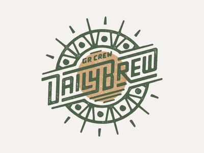 GR Crew Daily Brew Badge custom type logo running branding patch illustration texture run badge