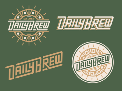 Ginger Runner Daily Brew Branding vector logo running sun show streaming badge branding texture run design