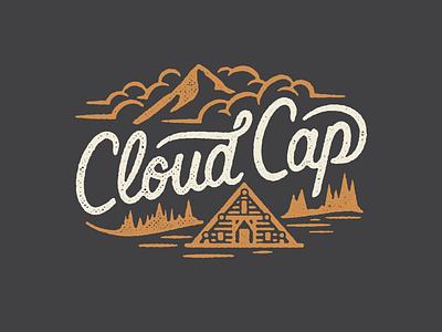 Cloud Cap badge design badge logo badges branding adventure mountains mt. hood mthood running custom cabin tree badge patch illustration texture run oregon