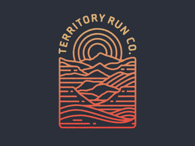 Territory Run Co. Shirt and Patch badge design apparel branding oregon patch running sun trail run texture badge