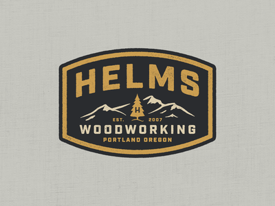 Helms Woodworking helms oregon portland mountains branding type woodworking logo badge
