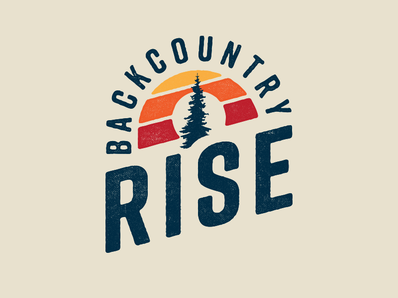 Backcountry Rise trail running washington running race run logo sunset sun rise backcountry tree badge