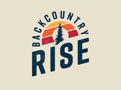 Backcountry Rise trail running washington running race run logo sunset sun rise backcountry tree badge