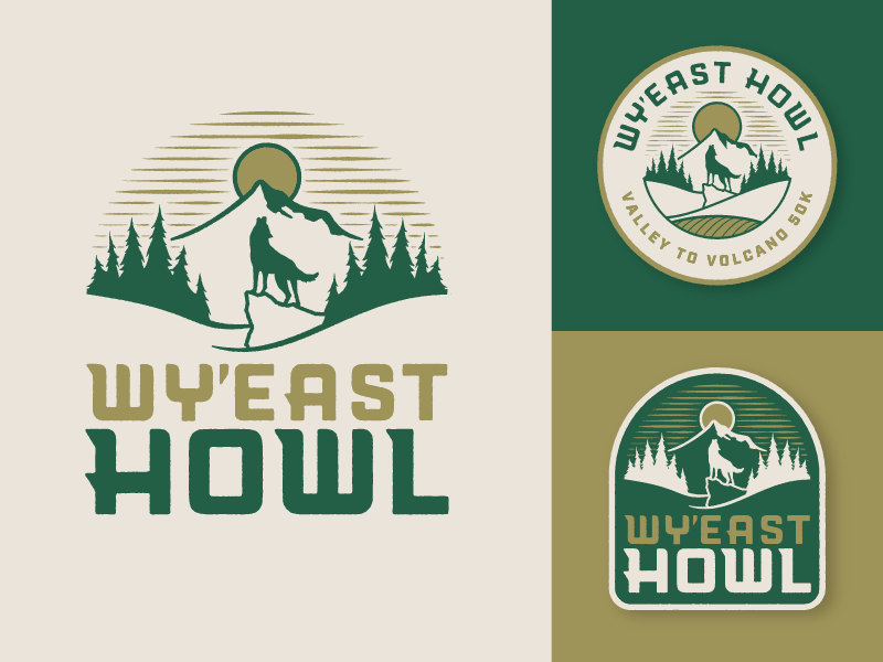 Howl mt. hood 50k run trail sun trees badge volcano wolf howl oregon
