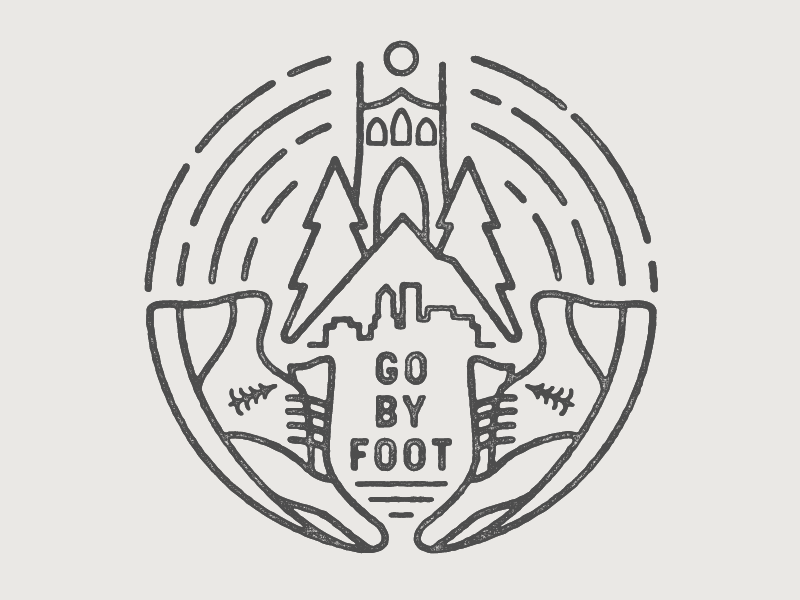 Go By Foot mt. hood running shoe shoe foot go running stumptown trees badge oregon portland