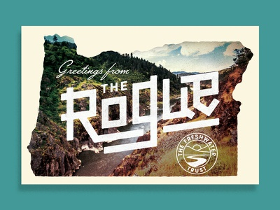 Greetings from The Rogue kayak fish vintage postcard water freshwater rivers river oregon rogue