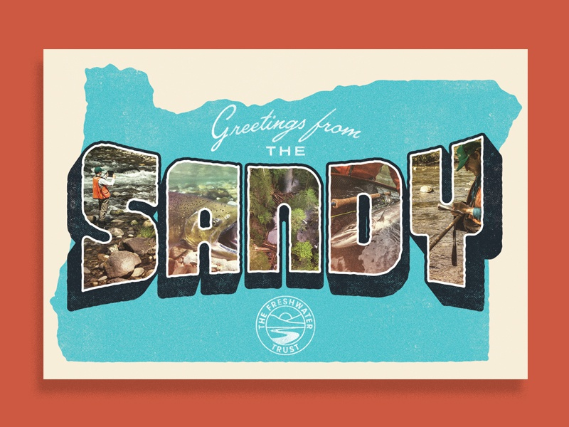 Greetings from The Sandy kayak fish vintage postcard water freshwater rivers river oregon sandy
