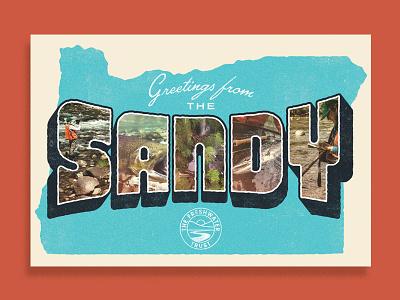 Greetings from The Sandy kayak fish vintage postcard water freshwater rivers river oregon sandy