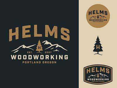 Helms Woodworking patch badge oregon portland mountains tree identity logo woodworking helms