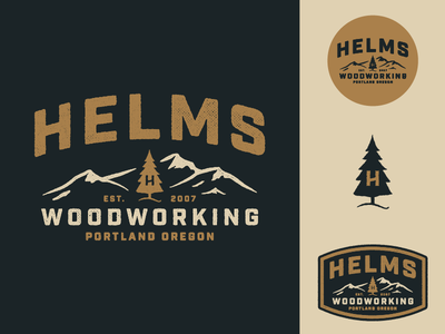 Helms Woodworking patch badge oregon portland mountains tree identity logo woodworking helms