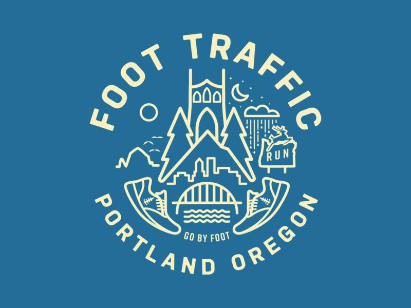 Foot Traffic badge bridgetown rose city run portland oregon