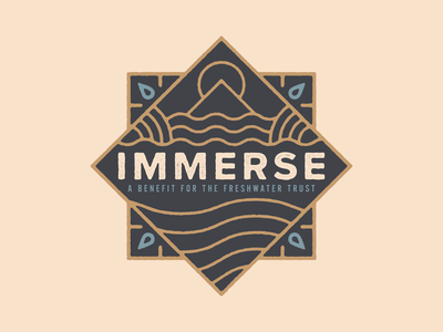 Immerse monoline badge freshwater water sun mountain river oregon