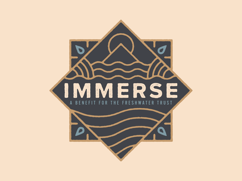 Immerse monoline badge freshwater water sun mountain river oregon