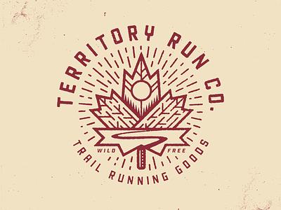Territory Autumn Trails II trail running illustration texture running sun run badge oregon