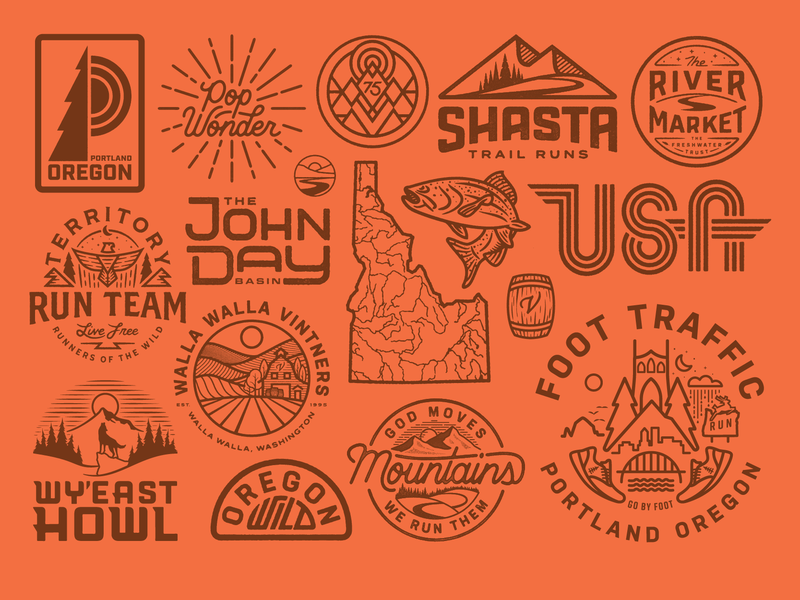 2018 Selects vector illustration wild outdoors explore trail run oregon logo vintage custom type fish running texture river tree sun portland badge