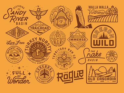 2018 Selects vector illustration wild outdoors explore trail run oregon logo vintage custom type fish running texture river tree sun portland badge