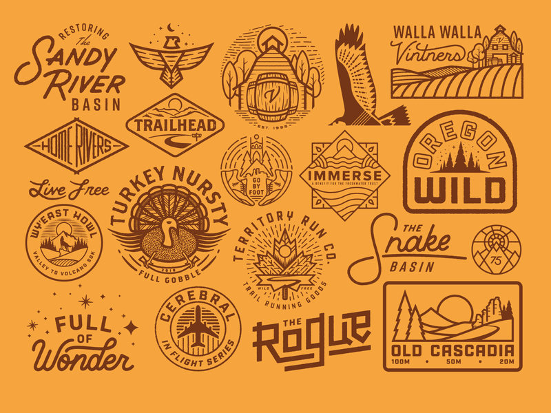 2018 Selects 2 illustration wild outdoors monoline logo explore vintage custom type fish river texture portland tree trail sun patch run badge oregon