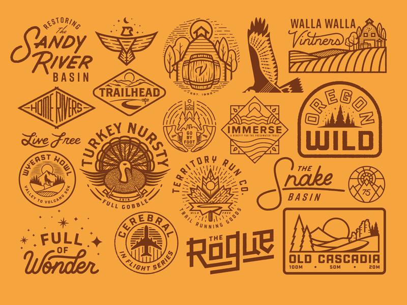 2018 Selects 2 illustration wild outdoors monoline logo explore vintage custom type fish river texture portland tree trail sun patch run badge oregon