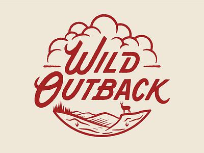 Wild Outback ultrarunning ultra 50k clouds tree trail running logo illustration texture run badge oregon