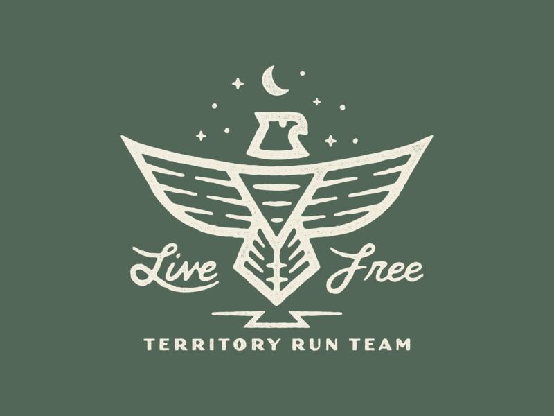 Live Free wild wilderness run wild territory run co pnw team run running trail running phoenix bird illustration