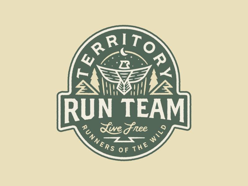 Territory Run Team patch custom oregon branding type vector badge tree portland design illustration texture trail run