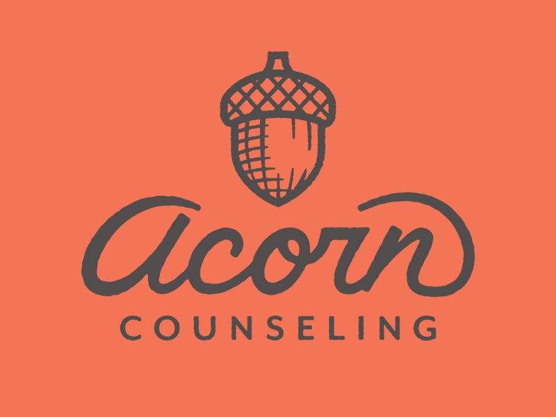 Acorn Counseling tree fall counseling logo illustration acorn