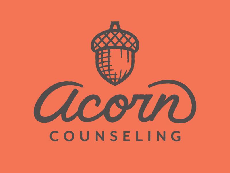 Acorn Counseling tree fall counseling logo illustration acorn
