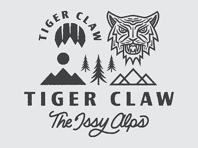 Tiger Claw Branding branding washington vector type texture tree sun trail running running illustration tiger trail logo badge