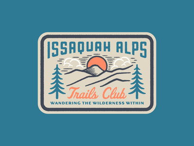 Issaquah Alps Trails Club III wilderness issaquah alps issaquah washington state clouds illustration texture tree badge patch trail