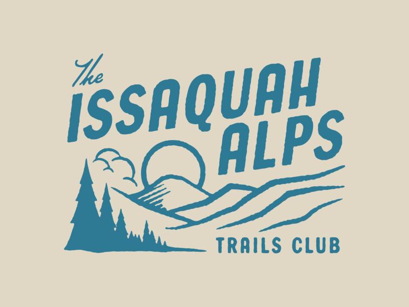 Issaquah Alps Trails Club II run sun tree wilderness hike washington state issaquah alps issaquah illustration texture trail badge