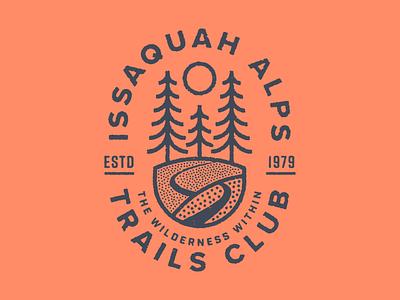 Issaquah Alps Trails Club I trees explore nature wilderness hike washington state washington running badge illustration sun tree trail
