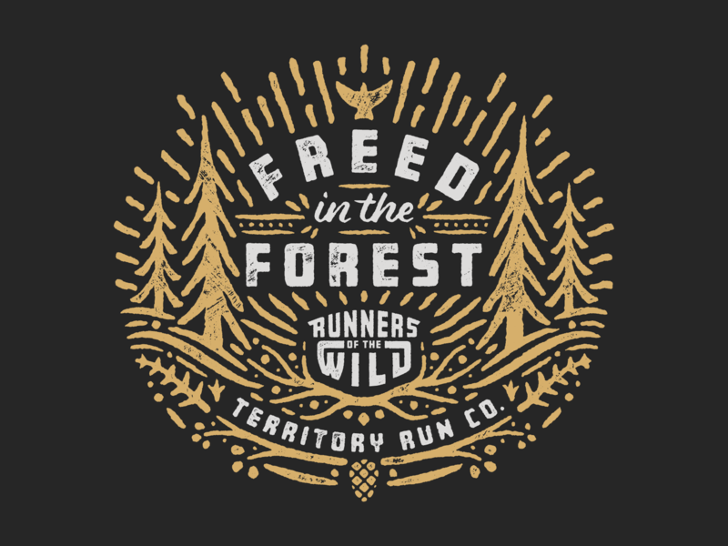Freed in the Forest trail running explore wilderness wild vector custom type portland running texture sun tree trail run oregon