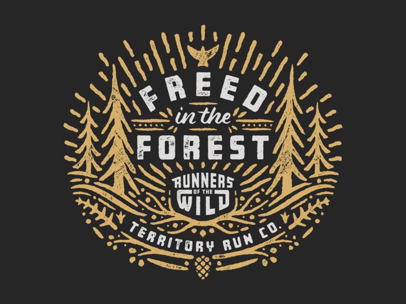 Freed in the Forest trail running explore wilderness wild vector custom type portland running texture sun tree trail run oregon