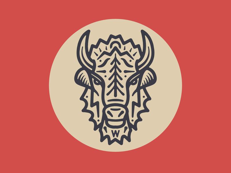 Woodlands Running Co. bison buffalo badge logo sun tree running illustration oregon trail run