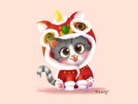 Kitty with Lion-Dance suit