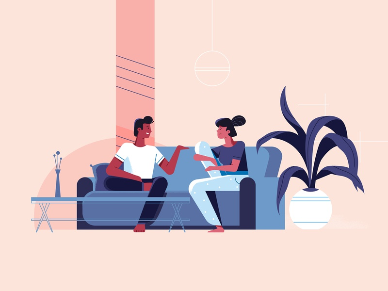 Relaxed while you're here sofa couch man woman flat styleframe explainer video illustration couple