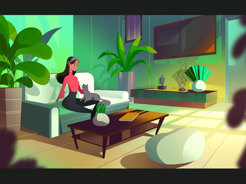 Feel like home plants room interior cat background 2d explainer video woman character animation illustration