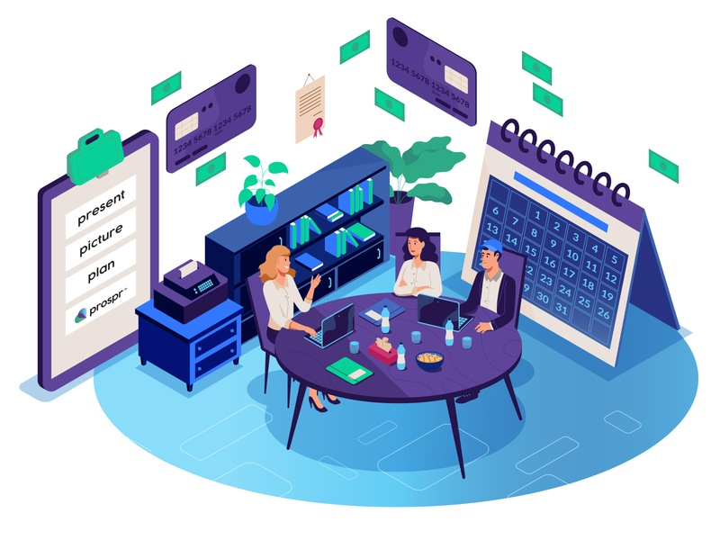 Business conversation meeting illustration isometric people office conversation business