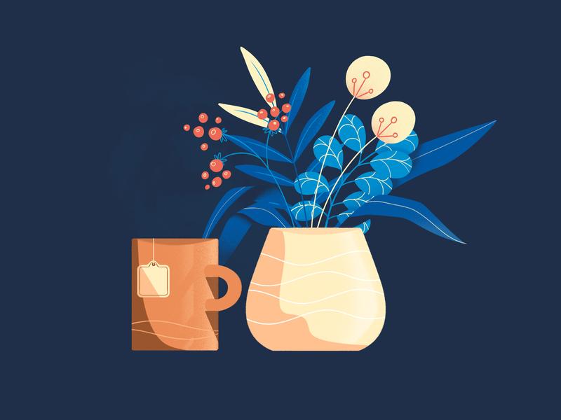 Calmness pastel flat design cup plant pot flowers animation illustration